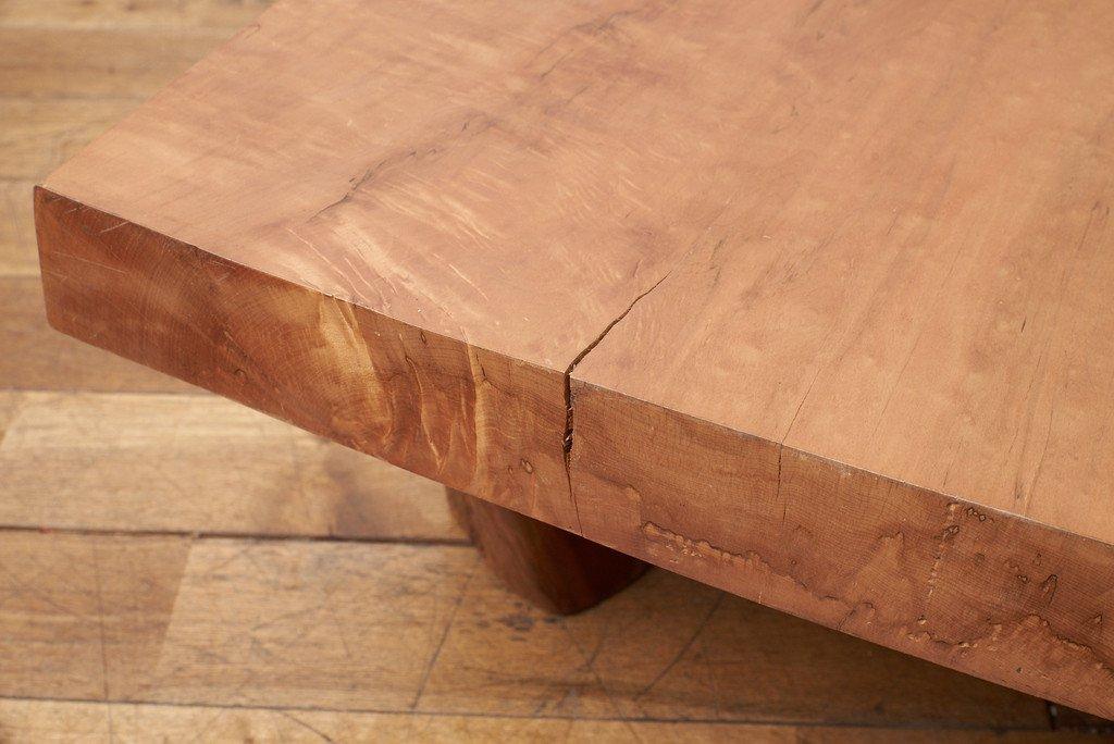 #37624 墨流し杢 スポルテッド 栃無垢材 一枚板座卓 コンディション画像 - 9
