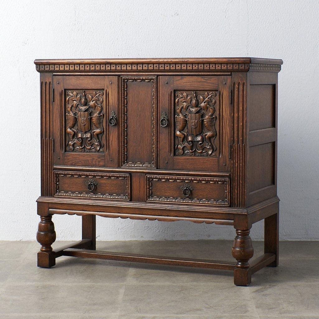 #39290 イギリス 1940年代 オーク 木彫刻 キャビネット 送料表