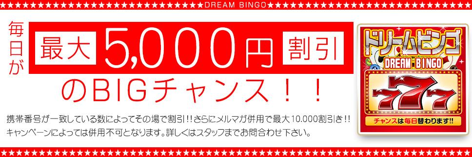 ❤ドリームビンゴ割り♥最大5000円割引!